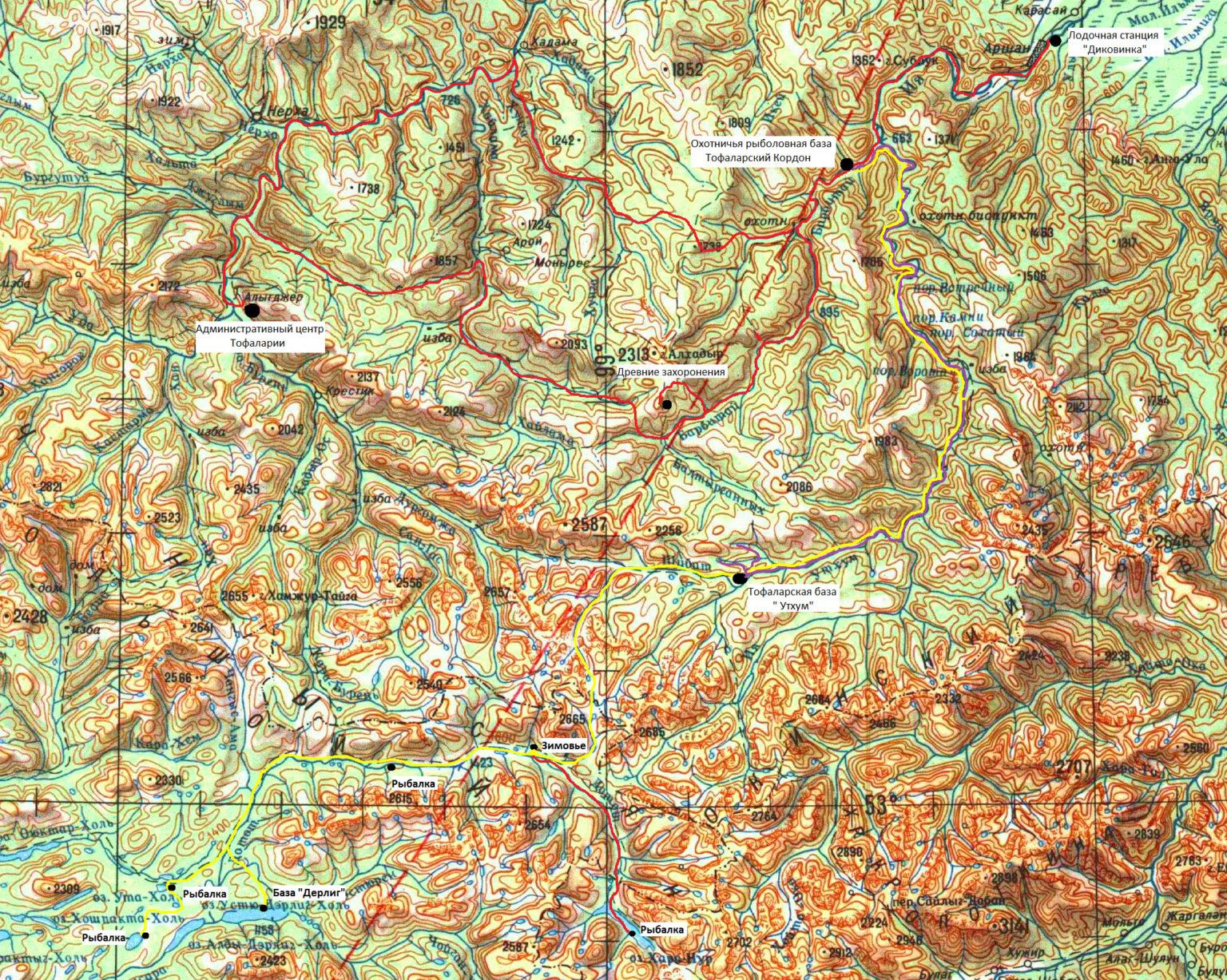 Общая карта маршрутов
